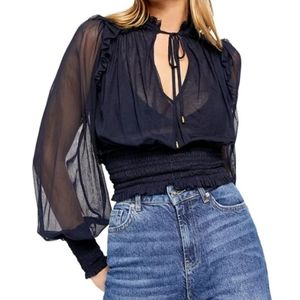 Free People Twyla navy blue top size Small